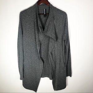 Mondetta Grey Asymmetrical Zipper Cardigan Sweater